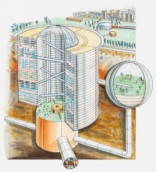 Ville souterraine en béton