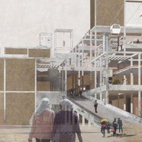 Cheminée de l'usine de traitement des déchets vue du parc ©Kienlen Alexandra & Hirtzlin Tom, PFE